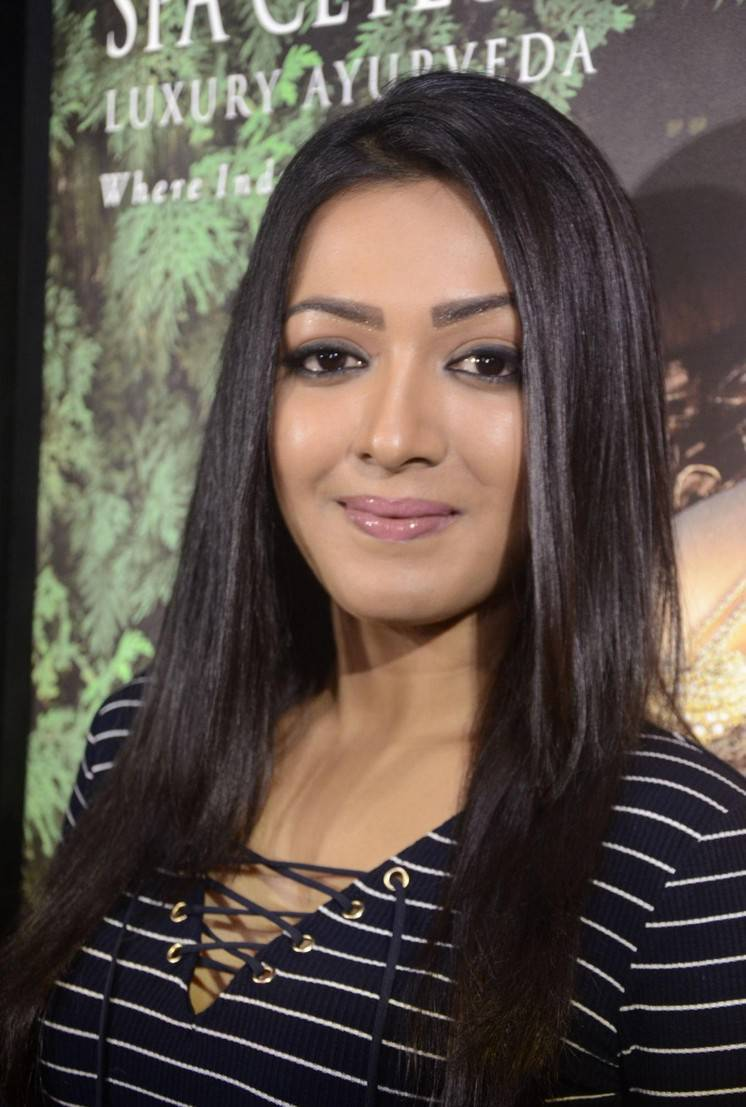 South Indian Actress Catherine Tresa Stills At Spa Shop Launch In Blue Dress