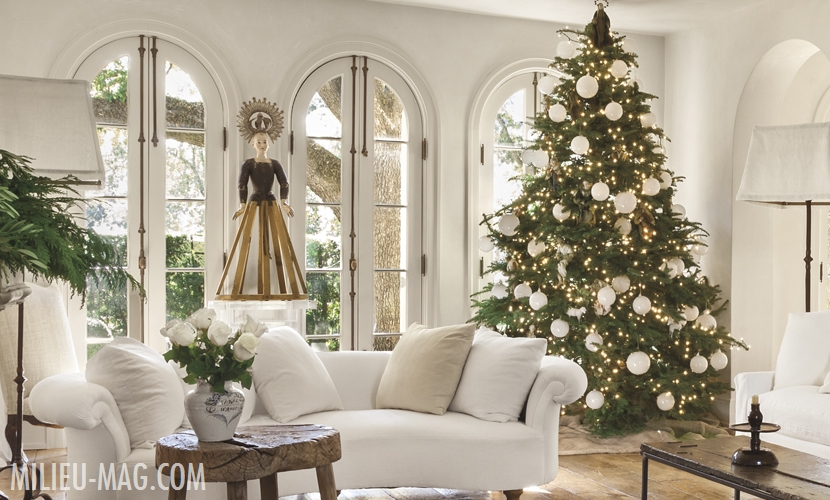 Pamela Pierce Christmas living room in her own European country home filled with antiques and white. #frenchcountry #livingroom #pamelapierce #whitechristmas #christmasdecor