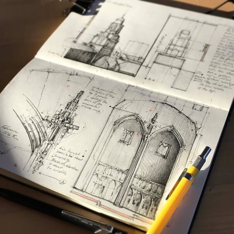 09-Morning-light-library-Jerome-Tryon-Travel-Architectural-Urban-Sketches-www-designstack-co