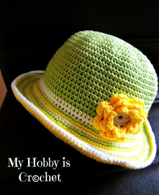 Toddler Striped Brim Sun Hat -   Free Crochet Pattern