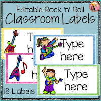 Editable Rock-and-Roll Themed Classroom Labels