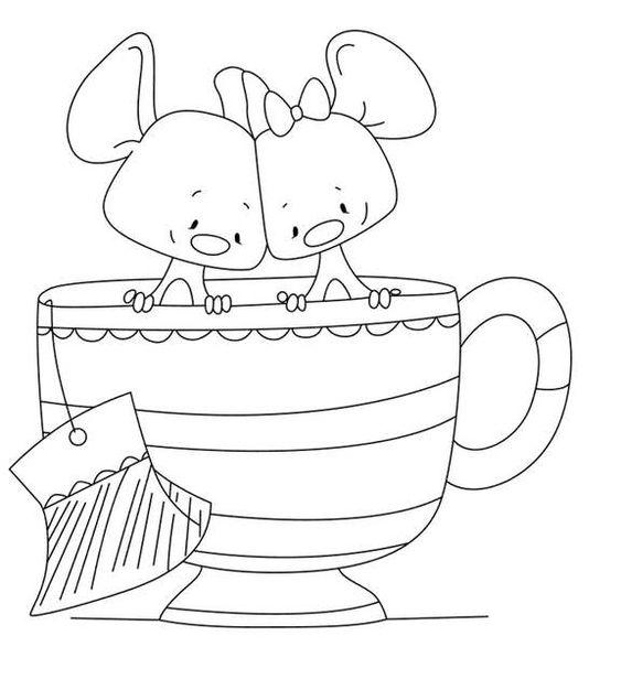 Tranh tô màu hai chú chuột trong tách trà