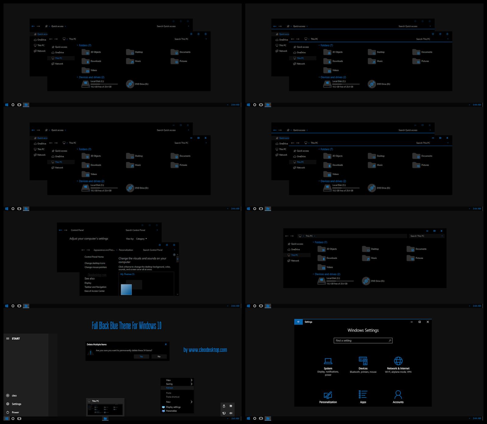 Full Black Blue Theme Windows10 May 2019 Update 1903