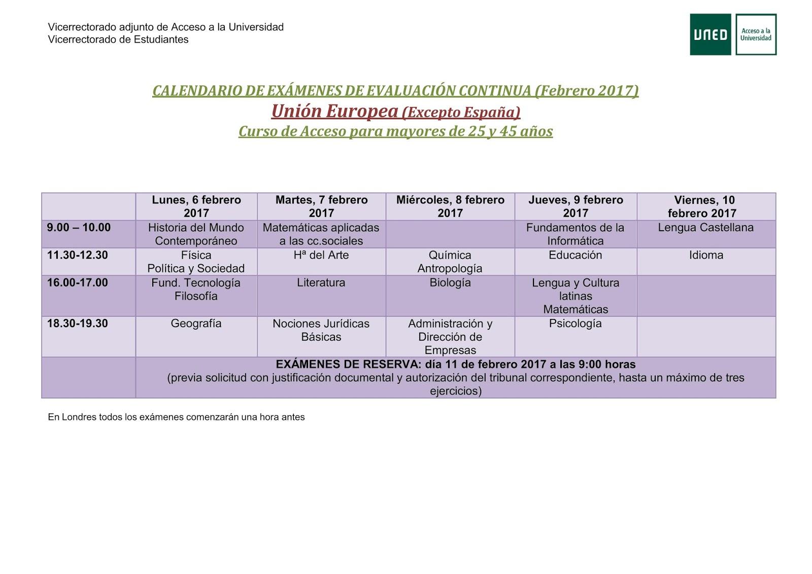 Calendario De Examenes Uned.Uned Aula De Coria Caceres Cursos De Acceso Calendario De