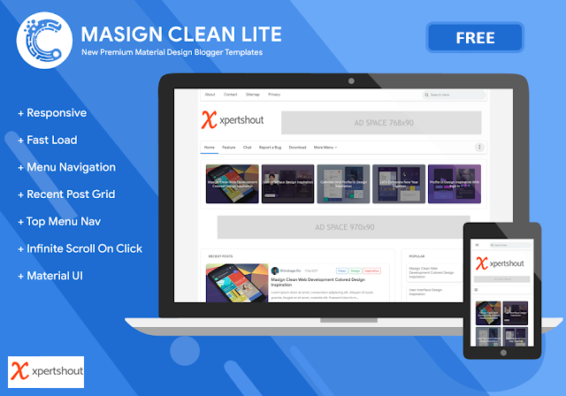 Masign Clean Lite Premium Blogger Template Free Download
