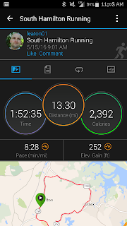 A screen shot of my timing on my Garmin Connect screen.