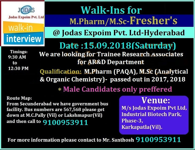 Jodas Expoim Pvt. Ltd. Walk-In Interview For Freshers M.Pharm & M.Sc - AR&D at 15  Sep