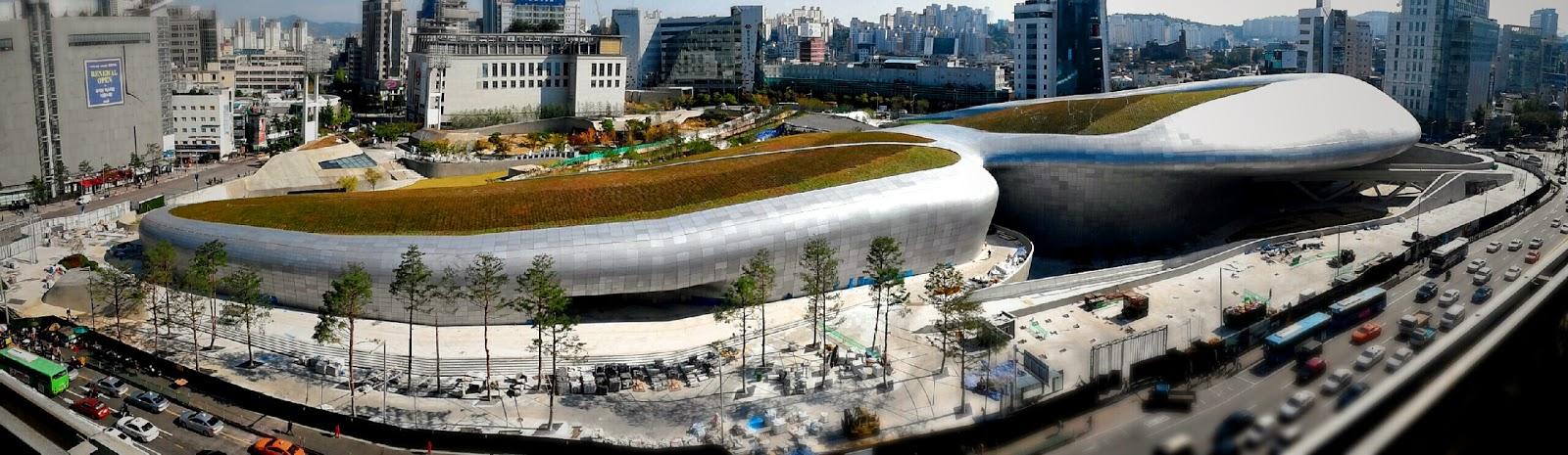 Bird's eye view of the  Dongdaemun Design plaza