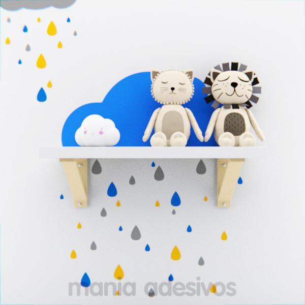 Adesivo de parede Nuvem de chuva para quarto de Bebe menino