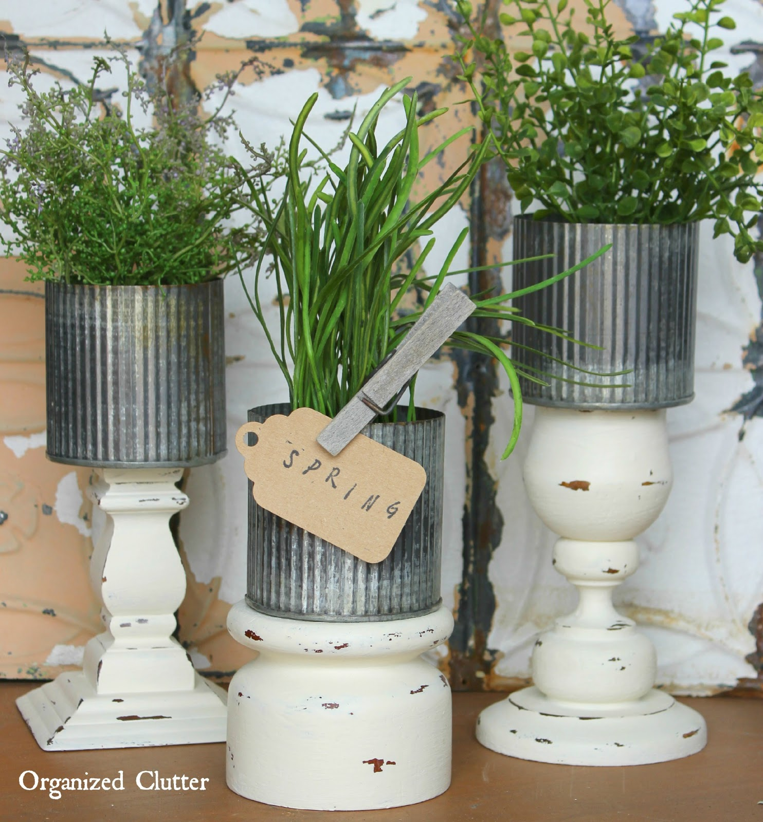 Thrift Shop Candle Holder Zinc Pot Planter www.organizedclutter.net
