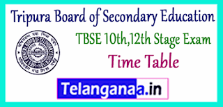 TBSE Tripura Board of Secondary Education 10th 12th Exam Time Table