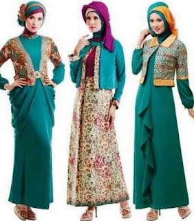 Model gamis batik kombinasi blazer