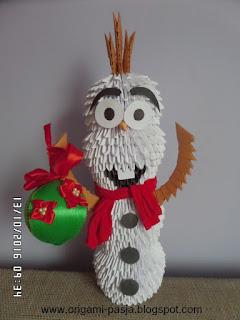 bajka, Olaf, z Krainy Lodu, origami, modułowe, 3d, rękodzieło, handmade, świeta, boże narodzenie, mikołaj, prezent, ozdoba,