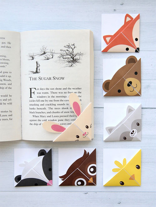 Printable Origami Woodland Animal Bookmarks
