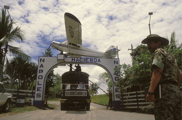 The entrance to the hacienda is decorated with a replica of the Piper airplane, which transported Escobar's first shipment of cocaine to the United States.
