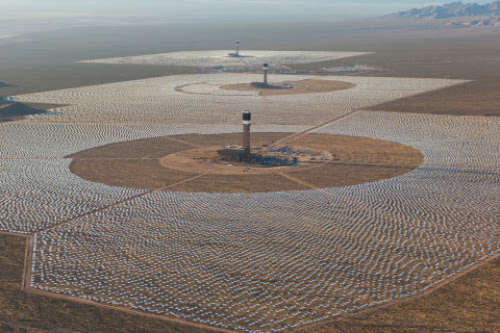 Amazing look at the solar thermal power plant from airplane.