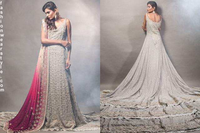 Zainab Chottani Gorgeous Silver Grey Bridal Dress www.fashionwearstyle.com