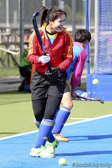 Cui Qiuxia, captain, defender, Chinese hockey team, training at the Festival of Hockey at Hawke's Bay Regional Sports Park, Hastings. photograph