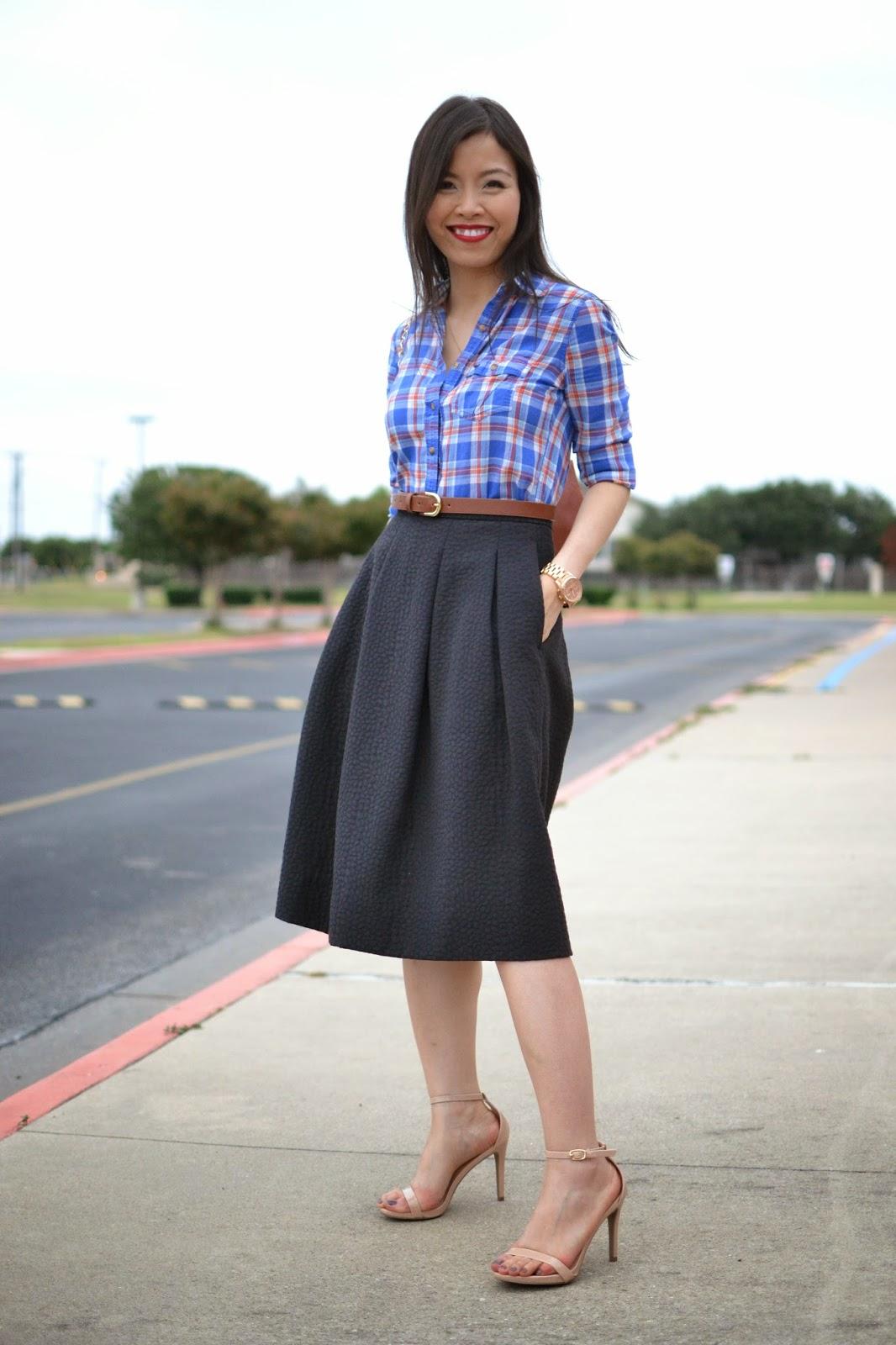 Style and Cappuccino : Pretty Plaid: Plaid Shirt & Midi Skirt
