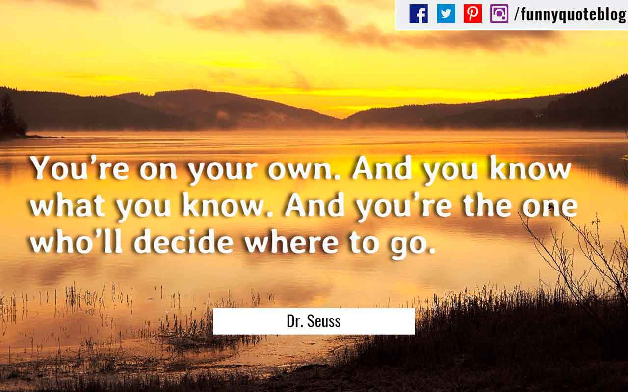 �You�re on your own. And you know what you know. And you�re the one who�ll decide where to go.� ? Dr. Seuss Quote
