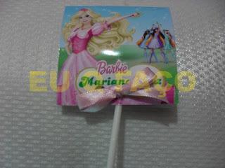 barbie e as três mosqueteiras, brindes da barbie, pirulito, lembrancinhas, brindes, festa, infantil