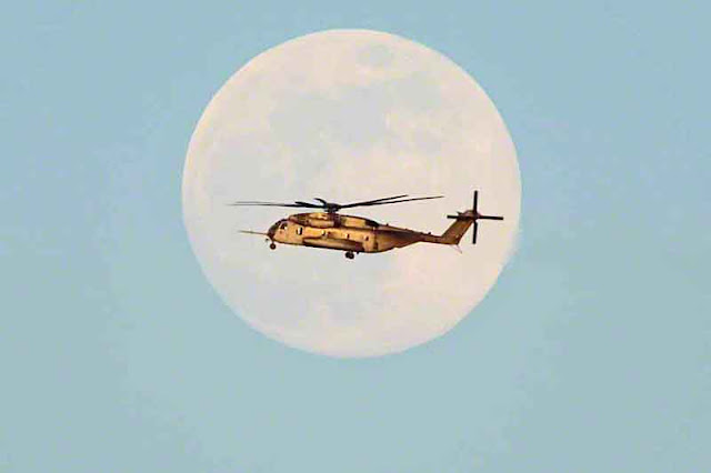 helicopter, military,moon, Okinawa, Japan