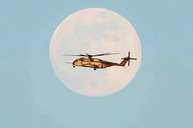 helicopter, military,moon, Okinawa, Japan