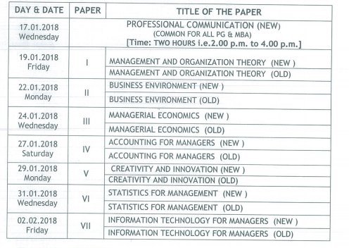 Satavahana University SU MBA Exam Time Table 2018