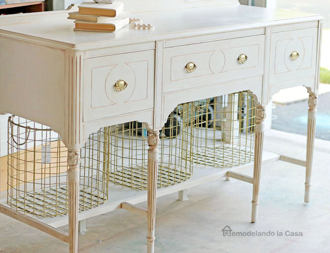 Antique buffet painted white with chalk paint