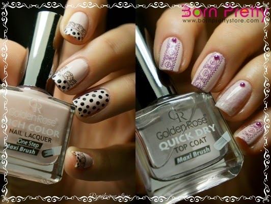 Lace nail art. Stamp plate QA49 from Born Pretty Store.