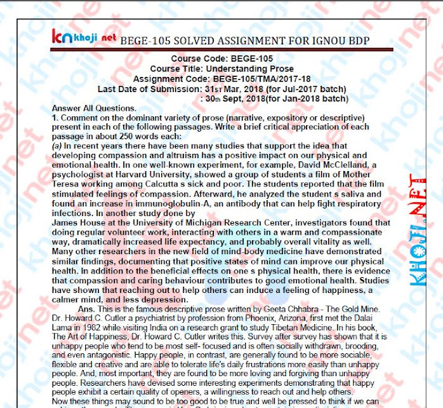 BEGE-105 Solved Assignment 2017-18 Understanding Prose IGNOU BDP