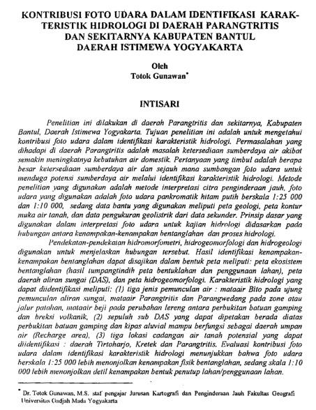 Kontribusi Foto Udara Dalam Identifikasi Karakteristik Hidrologi [Paper]