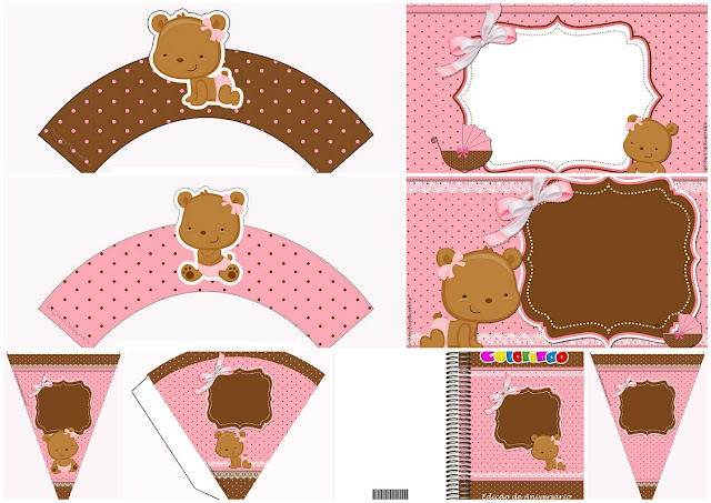 Baby Girl Bear: Free Printable Invitations and Free Party Printables.