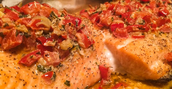 Baked Salmon with Red Pepper Cream Sauce