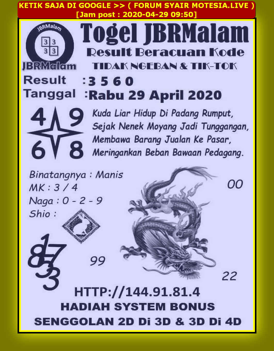 Kode syair Sydney Rabu 29 April 2020 97