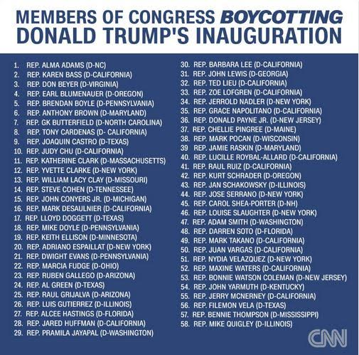 Updated list of the 58 Democrats that won't attend Donald Trump's inauguration