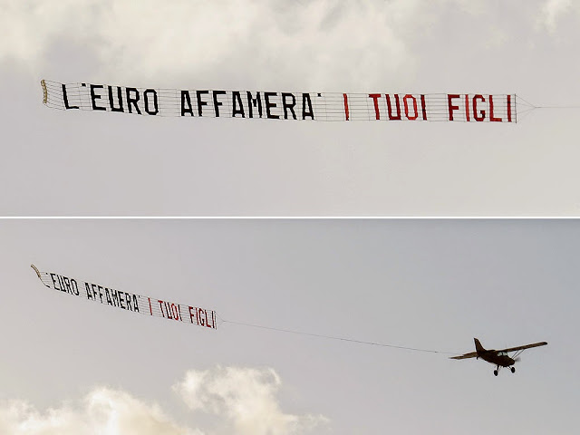 L'Euro affamerà i tuoi figli, The Euro will starve your children, banner over Livorno