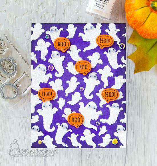 Newton's Nook Designs & WOW Embossing Powders Inspiration Week - Puffy Ghost card by Tatiana Trafimovich | Ghosts Stencil and Boo Hoo Stamp Set by Newton's Nook Designs with embossing powder by WOW! #newtonsnook #wowembossing