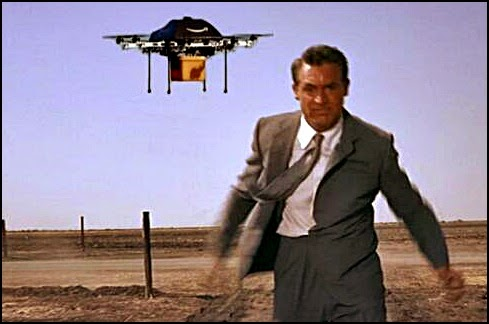 Drone chasing Cary Grant in North by Northwest still