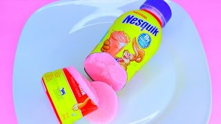 How to Make Nesquik Bottle STRAWBERRY Milk Color Pudding Jelly