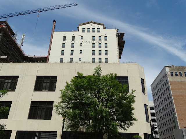 Byrd's Lofts and State National Building seen from the South (Prairie St)(April 2016 photo)