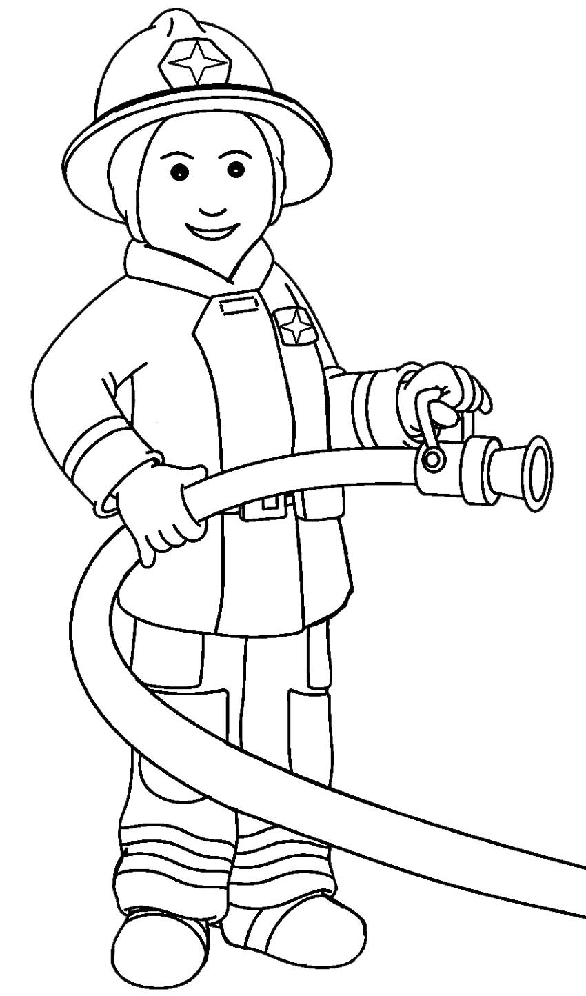 Family, People and Jobs Coloring Sheets: Fireman Jobs Coloring