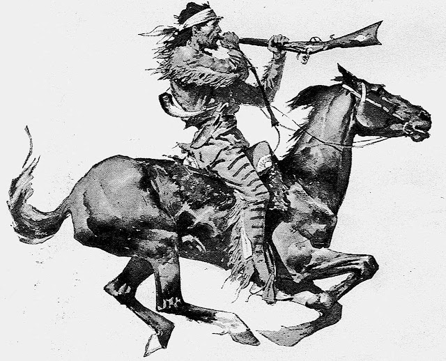 an 1800s Frederic Remington illustration of a man loading a  flintlock rifle at full gallop