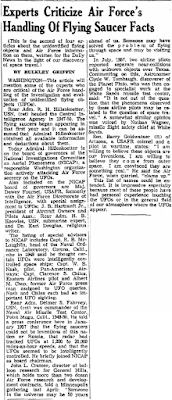 Experts Criticize Air Force's Handling Flying Saucer Facts - E News Newport 12-23-1958