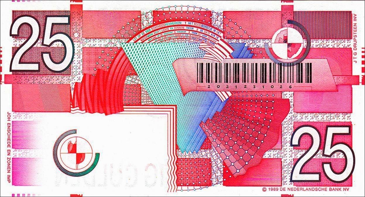 Netherlands Currency Money 25 Gulden Banknote 1989