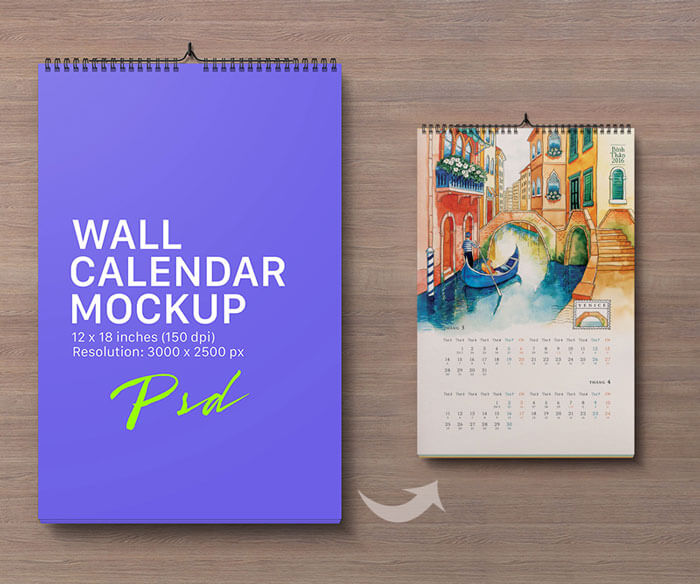 Mockup PSD Kalender 2019 Terbaru - Portrait Wall Calendar Mockup PSD