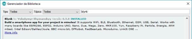 Biblioteca Blynk IDE Arduino