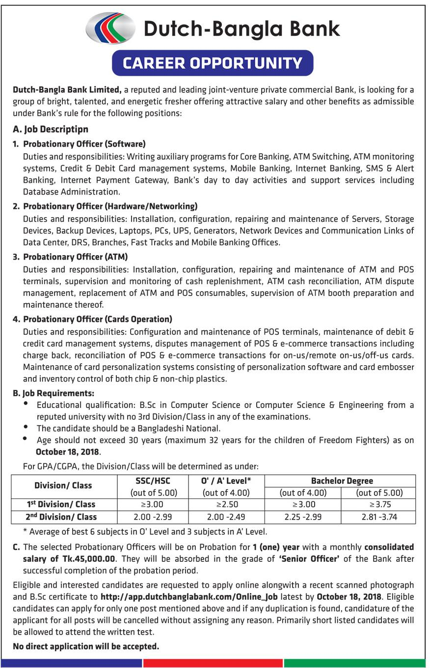 Dutch Bangla Bank Limited (DBBL) Job Circular 2018
