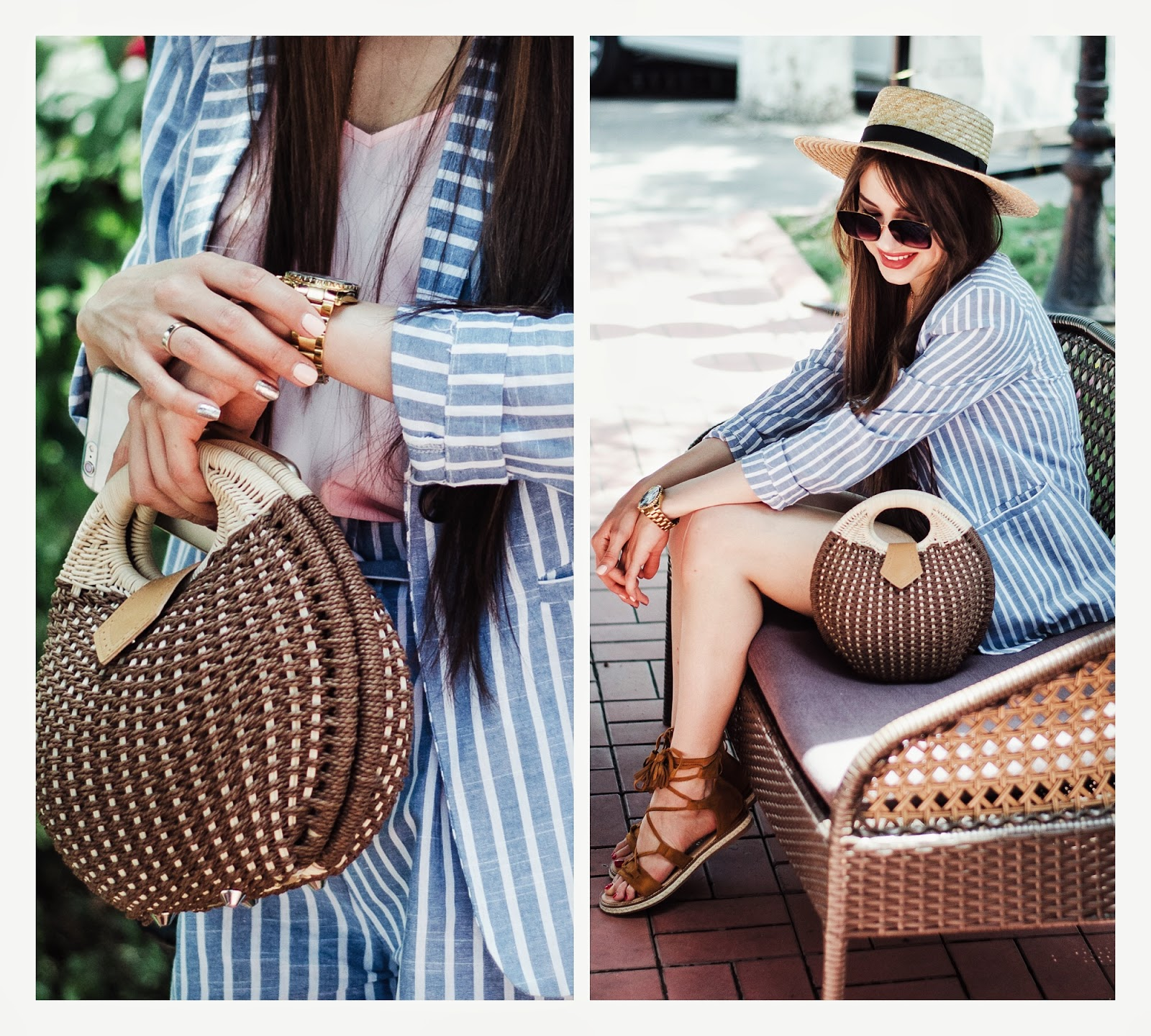 fashion blogger diyorasnotes diyora beta suit straw hat asos shorts summer outfit tote bag sandals style look