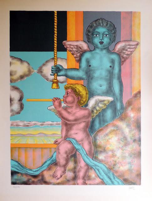 José Caes Solé litografía ángel celestial con trompeta